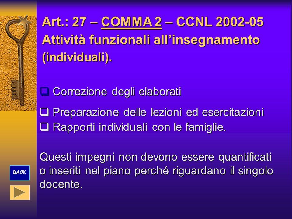 Art.: 27 – COMMA 2 – CCNL 2002-05 Attività funzionali all'insegnamento (individuali).  Correzione degli elaborati  Preparazione delle lezioni ed ese