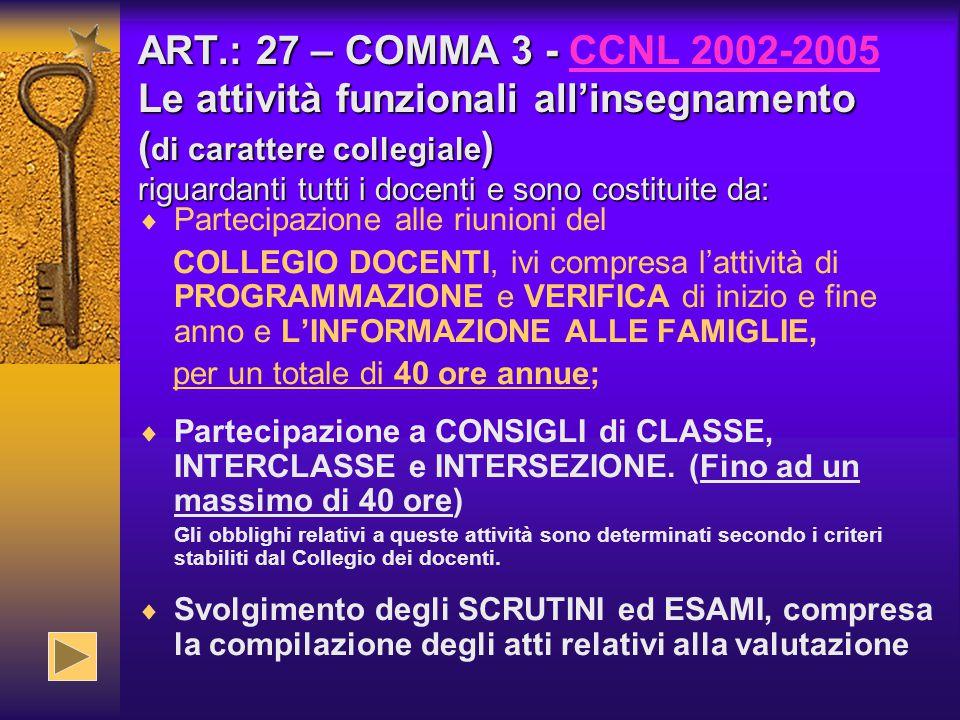 ART.: 27 – COMMA 3 - Le attività funzionali all'insegnamento ( di carattere collegiale ) riguardanti tutti i docenti e sono costituite da: ART.: 27 –