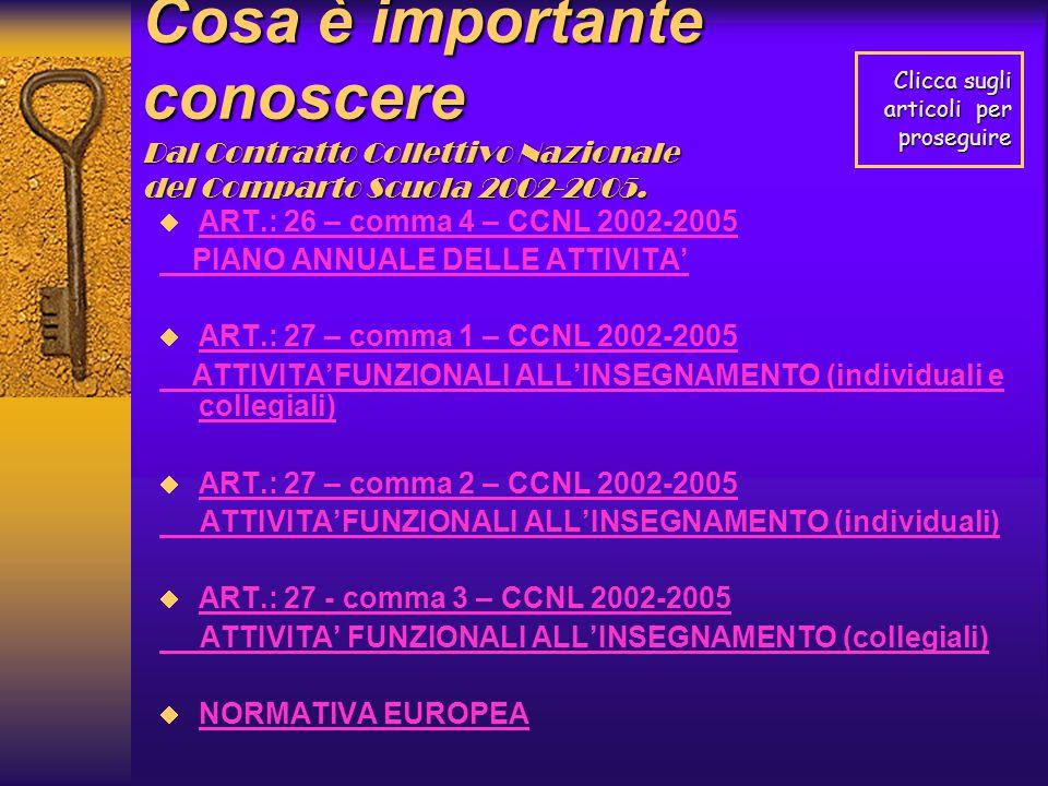 Cosa è importante conoscere Dal Contratto Collettivo Nazionale del Comparto Scuola 2002-2005.  ART.: 26 – comma 4 – CCNL 2002-2005 ART.: 26 – comma 4