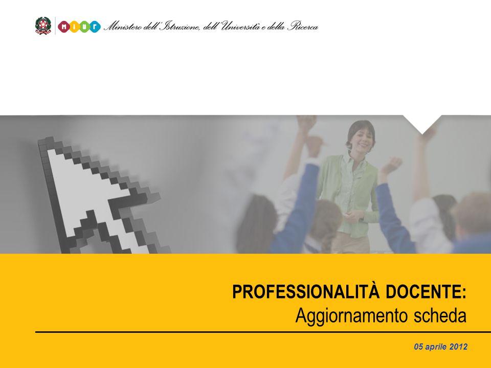PROFESSIONALITÀ DOCENTE: Aggiornamento scheda 05 aprile 2012