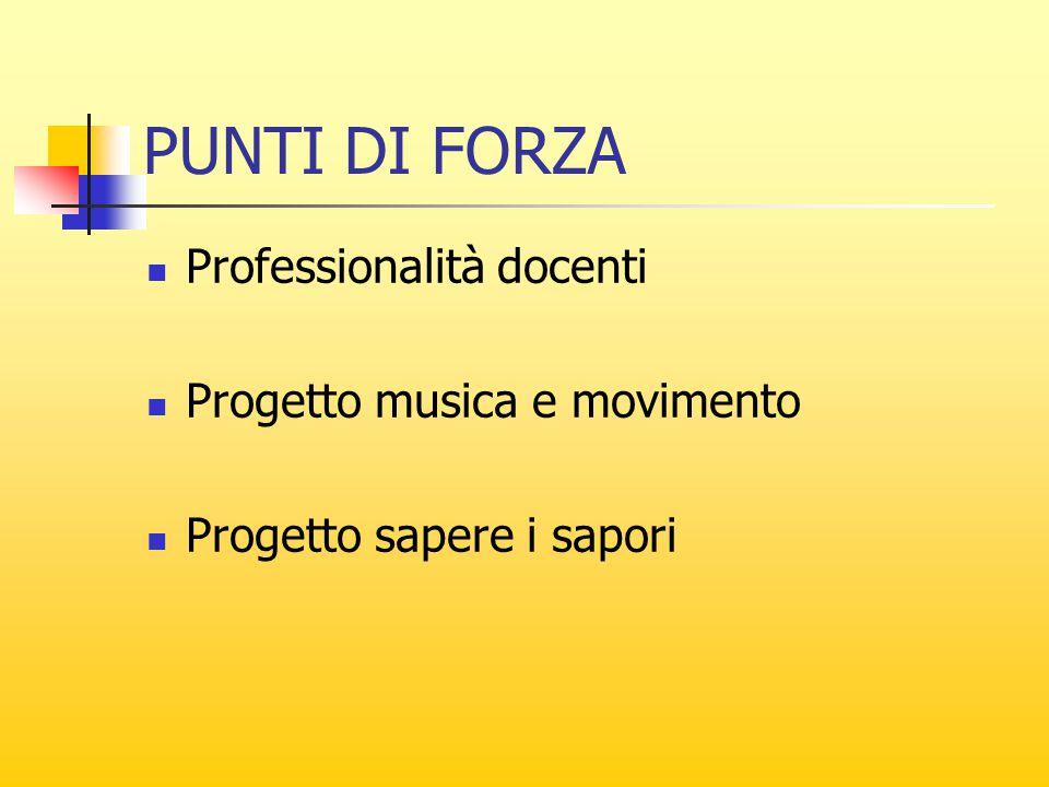 PUNTI DI FORZA Professionalità docenti Progetto musica e movimento Progetto sapere i sapori