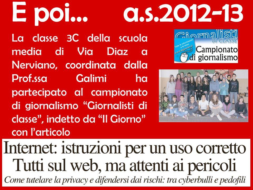 """La classe 3C della scuola media di Via Diaz a Nerviano, coordinata dalla Prof.ssa Galimi ha partecipato al campionato di giornalismo """"Giornalisti di c"""