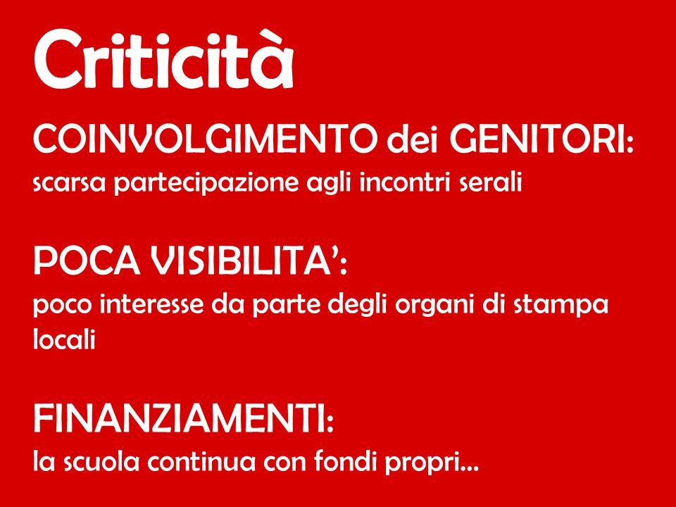COINVOLGIMENTO dei GENITORI: scarsa partecipazione agli incontri serali POCA VISIBILITA': poco interesse da parte degli organi di stampa locali FINANZ