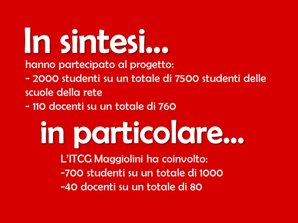 hanno partecipato al progetto: - 2000 studenti su un totale di 7500 studenti delle scuole della rete - 110 docenti su un totale di 760 L'ITCG Maggioli