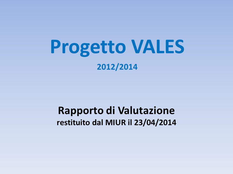 Rapporto di Valutazione restituito dal MIUR il 23/04/2014 Progetto VALES 2012/2014