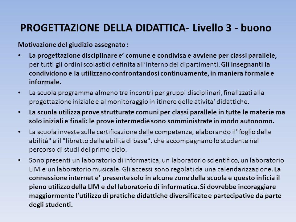 PROGETTAZIONE DELLA DIDATTICA- Livello 3 - buono Motivazione del giudizio assegnato : La progettazione disciplinare e' comune e condivisa e avviene per classi parallele, per tutti gli ordini scolastici definita all'interno dei dipartimenti.