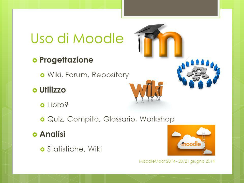 Uso di Moodle  Progettazione  Wiki, Forum, Repository  Utilizzo  Libro?  Quiz, Compito, Glossario, Workshop  Analisi  Statistiche, Wiki MoodleM