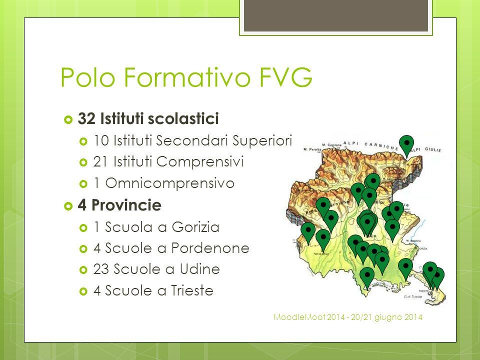 Polo Formativo FVG  32 Istituti scolastici  10 Istituti Secondari Superiori  21 Istituti Comprensivi  1 Omnicomprensivo  4 Provincie  1 Scuola a