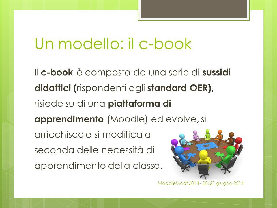 Un modello: il c-book Il c-book è composto da una serie di sussidi didattici ( rispondenti agli standard OER), risiede su di una piattaforma di appren