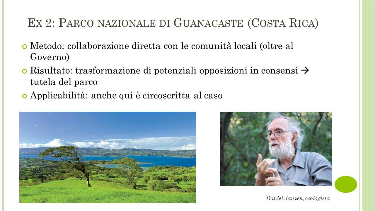 E X 2: P ARCO NAZIONALE DI G UANACASTE (C OSTA R ICA ) Metodo: collaborazione diretta con le comunità locali (oltre al Governo) Risultato: trasformazi