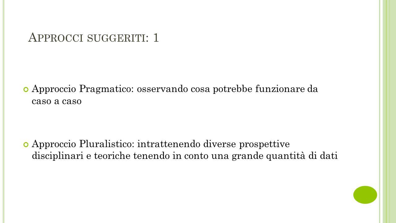 A PPROCCI SUGGERITI : 1 Approccio Pragmatico: osservando cosa potrebbe funzionare da caso a caso Approccio Pluralistico: intrattenendo diverse prospet