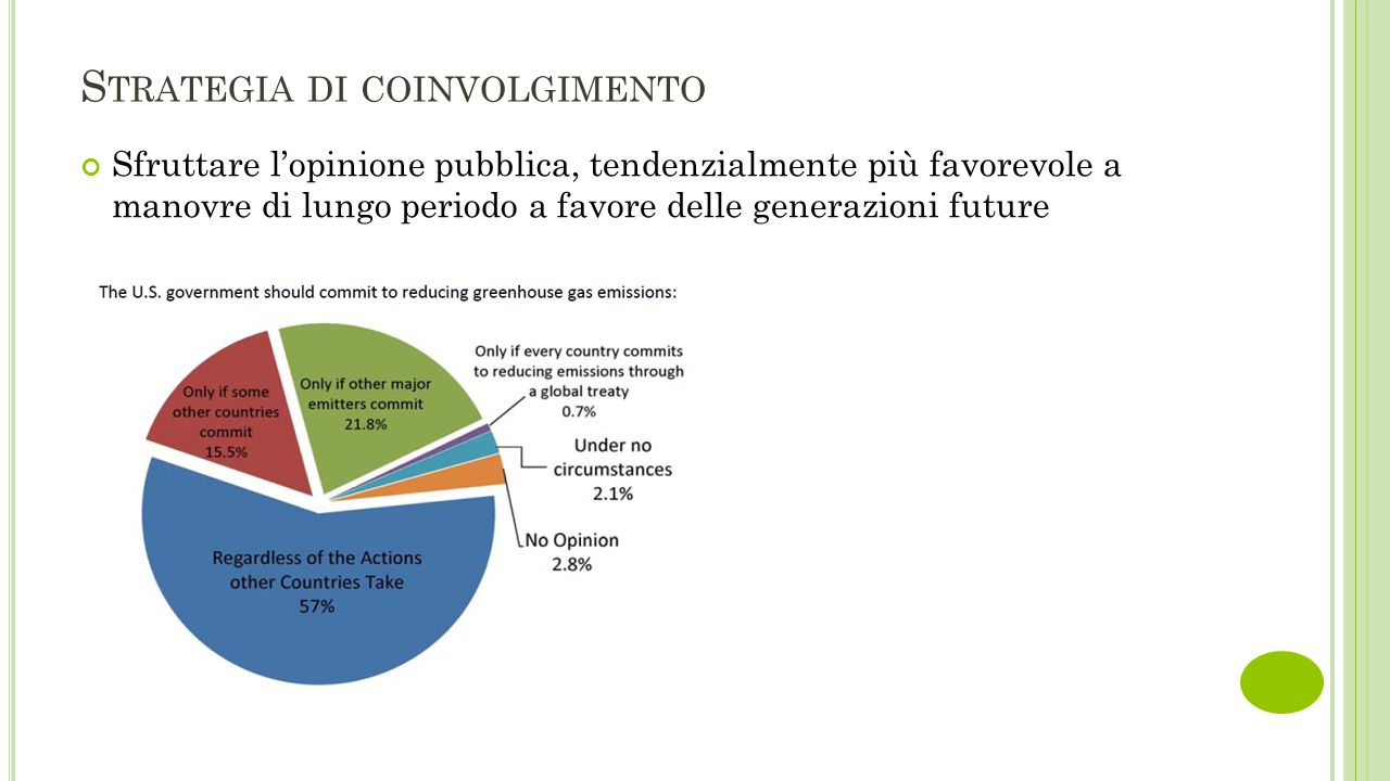 S TRATEGIA DI COINVOLGIMENTO Sfruttare l'opinione pubblica, tendenzialmente più favorevole a manovre di lungo periodo a favore delle generazioni futur