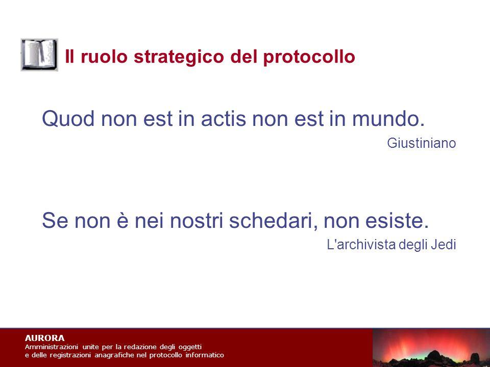 AURORA Amministrazioni unite per la redazione degli oggetti e delle registrazioni anagrafiche nel protocollo informatico Il ruolo strategico del protocollo Quod non est in actis non est in mundo.