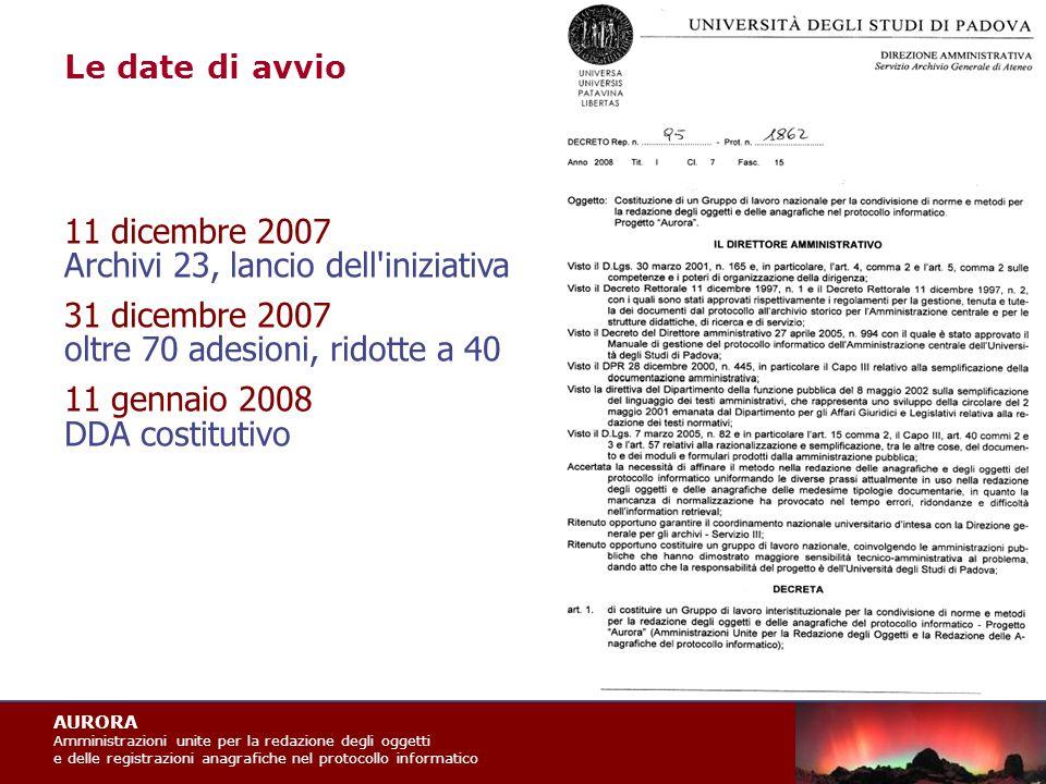 AURORA Amministrazioni unite per la redazione degli oggetti e delle registrazioni anagrafiche nel protocollo informatico Le sentenze e altri materiali si trovano in tre articoli:  Profili archivistici del protocollo informatico, «Archivi & Computer», XV/1 (2005), pp.