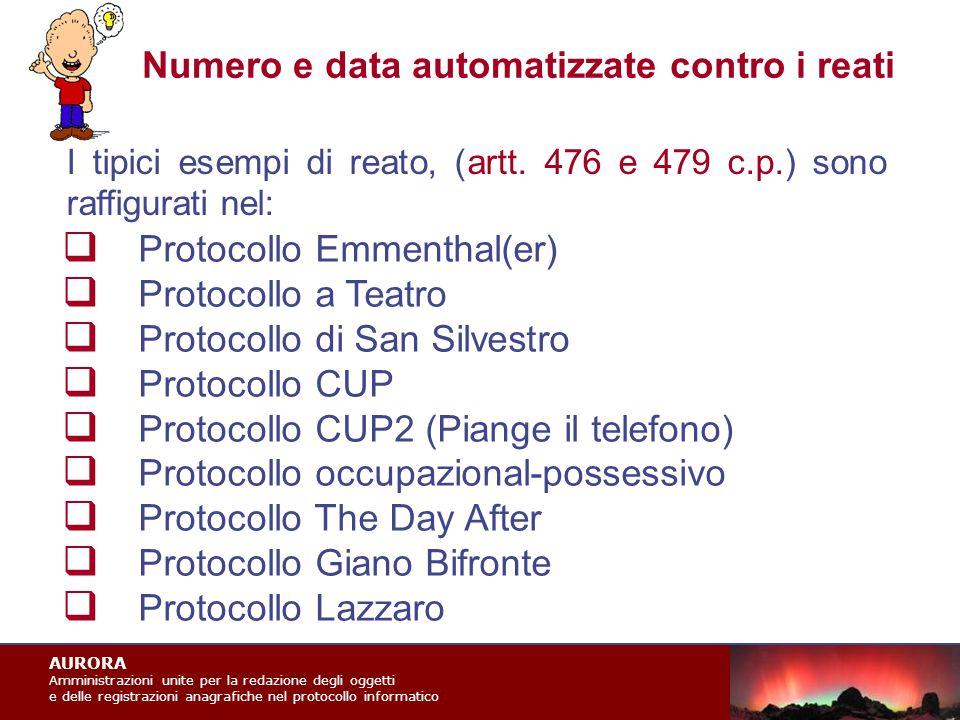 AURORA Amministrazioni unite per la redazione degli oggetti e delle registrazioni anagrafiche nel protocollo informatico Numero e data automatizzate contro i reati I tipici esempi di reato, (artt.