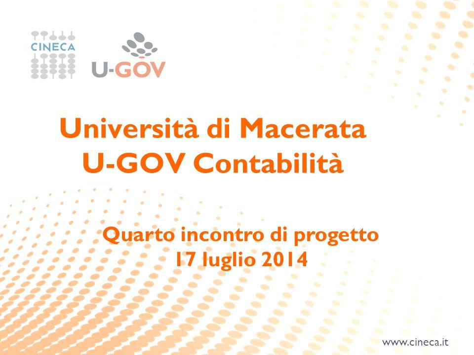 www.cineca.it Quarto incontro di progetto 17 luglio 2014 Università di Macerata U-GOV Contabilità