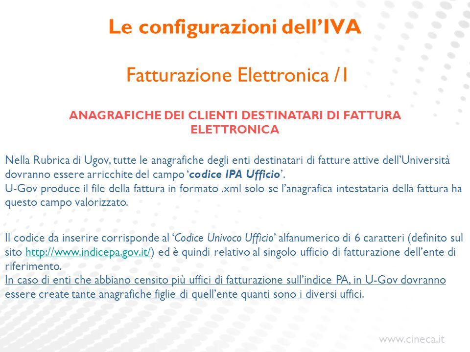www.cineca.it Le configurazioni dell'IVA Fatturazione Elettronica /1 ANAGRAFICHE DEI CLIENTI DESTINATARI DI FATTURA ELETTRONICA Nella Rubrica di Ugov,