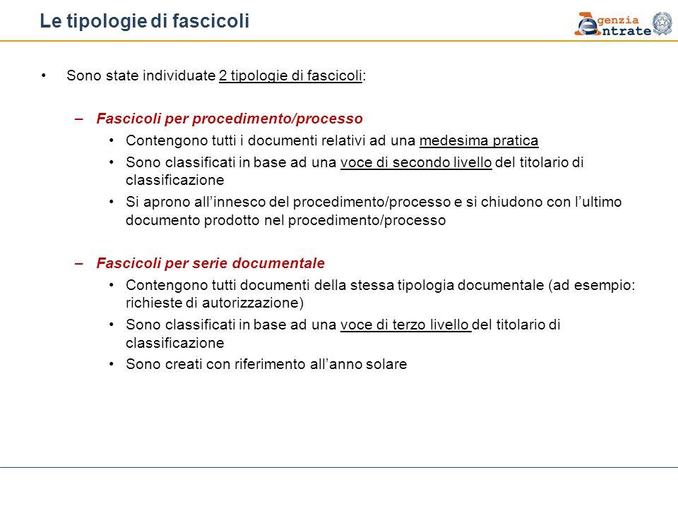 Le tipologie di fascicoli Sono state individuate 2 tipologie di fascicoli: –Fascicoli per procedimento/processo Contengono tutti i documenti relativi