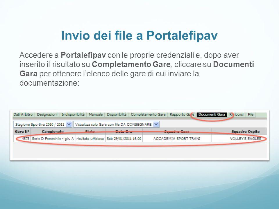 Invio dei file a Portalefipav Accedere a Portalefipav con le proprie credenziali e, dopo aver inserito il risultato su Completamento Gare, cliccare su