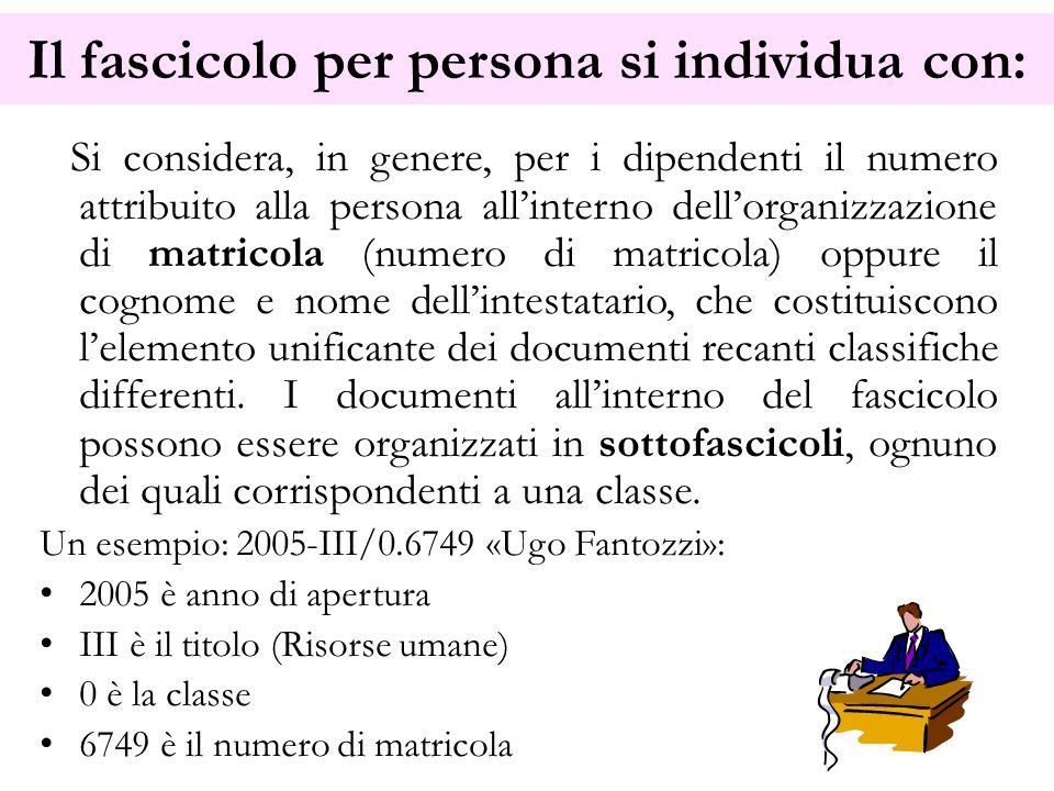 Il fascicolo per persona si individua con: Si considera, in genere, per i dipendenti il numero attribuito alla persona all'interno dell'organizzazione