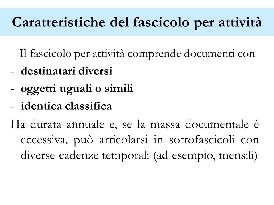 Caratteristiche del fascicolo per attività Il fascicolo per attività comprende documenti con -destinatari diversi -oggetti uguali o simili -identica c