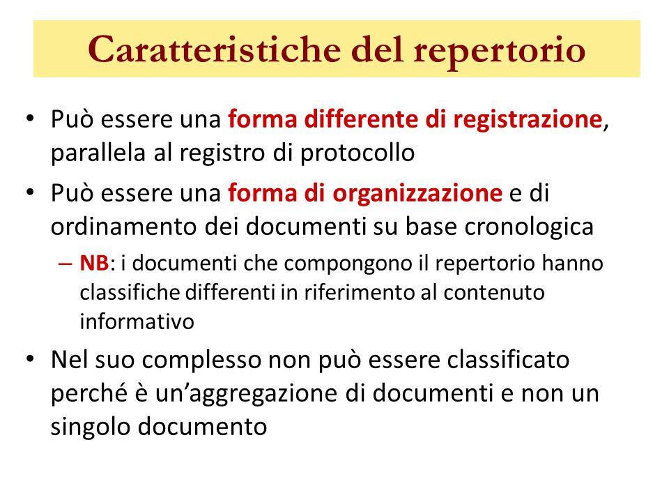 Caratteristiche del repertorio Può essere una forma differente di registrazione, parallela al registro di protocollo Può essere una forma di organizza