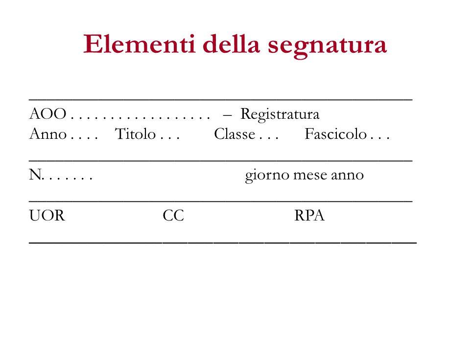 Elementi della segnatura _____________________________________________ AOO.................. – Registratura Anno.... Titolo... Classe... Fascicolo...