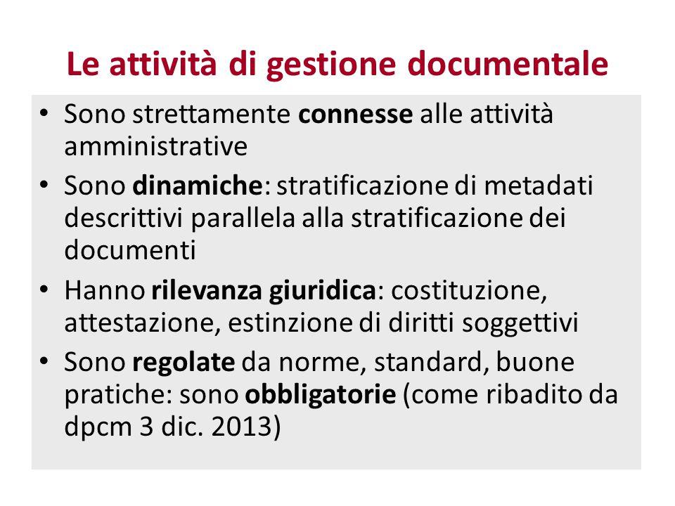 Le attività di gestione documentale Sono strettamente connesse alle attività amministrative Sono dinamiche: stratificazione di metadati descrittivi pa