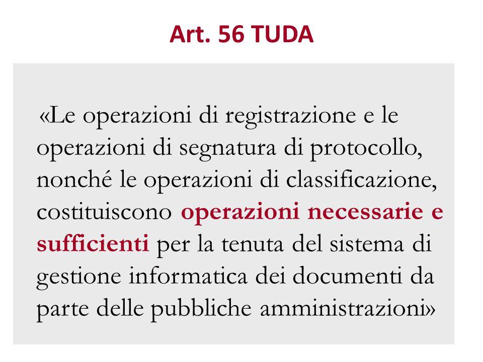 Art. 56 TUDA «Le operazioni di registrazione e le operazioni di segnatura di protocollo, nonché le operazioni di classificazione, costituiscono operaz