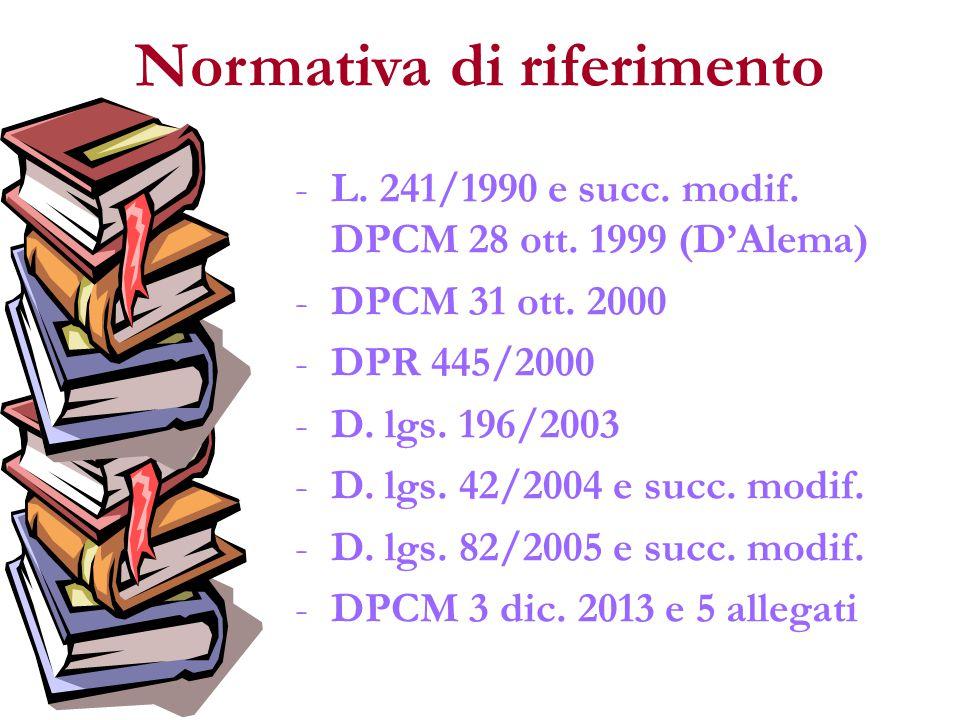 Normativa di riferimento -L. 241/1990 e succ. modif. DPCM 28 ott. 1999 (D'Alema) -DPCM 31 ott. 2000 -DPR 445/2000 -D. lgs. 196/2003 -D. lgs. 42/2004 e