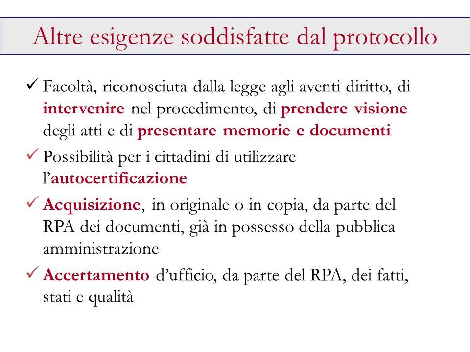 Altre esigenze soddisfatte dal protocollo Facoltà, riconosciuta dalla legge agli aventi diritto, di intervenire nel procedimento, di prendere visione