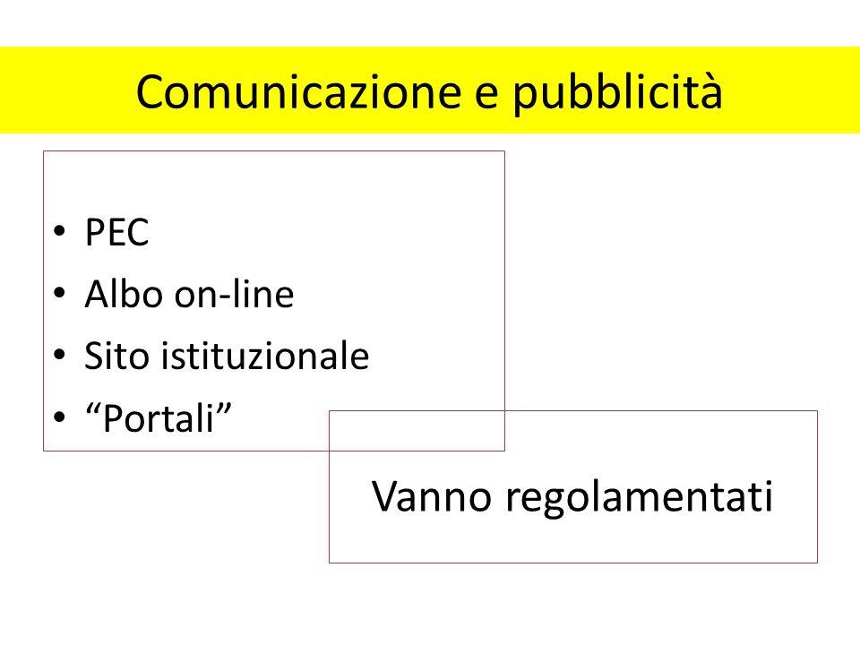 """Comunicazione e pubblicità PEC Albo on-line Sito istituzionale """"Portali"""" Vanno regolamentati"""