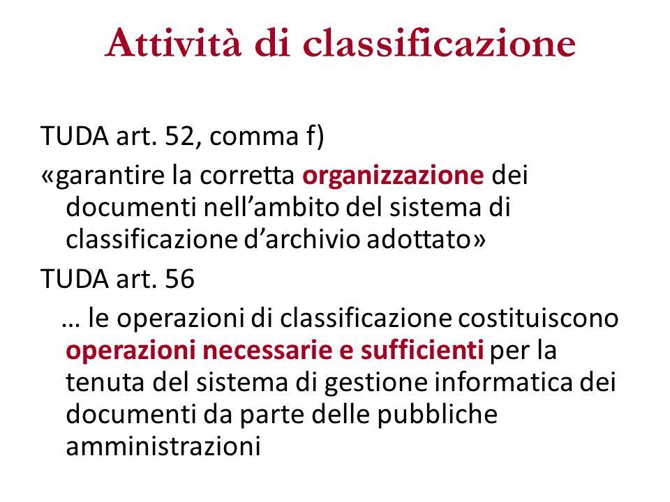Attività di classificazione TUDA art. 52, comma f) «garantire la corretta organizzazione dei documenti nell'ambito del sistema di classificazione d'ar