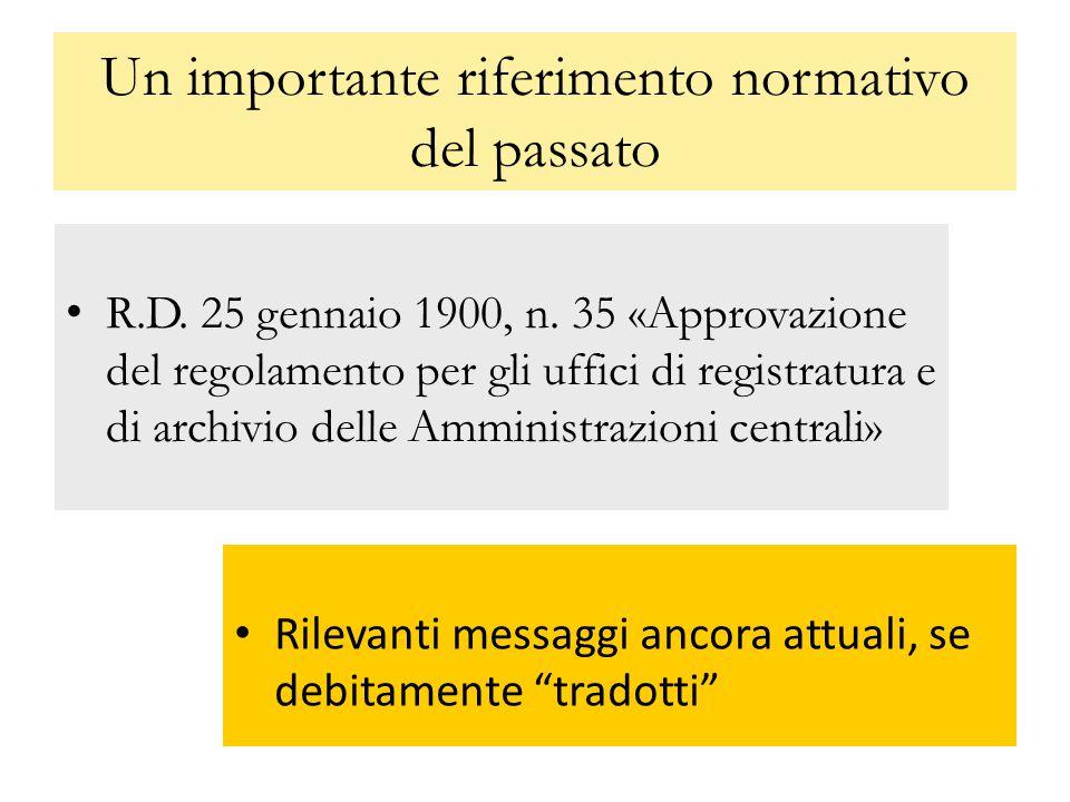 Eredità metodologiche del RD 35/1900 Divieto di alterazioni volontarie tracciabilità degli interventi Documento principale e allegato Necessità della registrazione Concetto e definizione di fascicolo Concetto di smistamento Concetto di formalità del documento