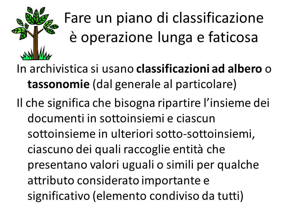 Fare un piano di classificazione è operazione lunga e faticosa In archivistica si usano classificazioni ad albero o tassonomie (dal generale al partic