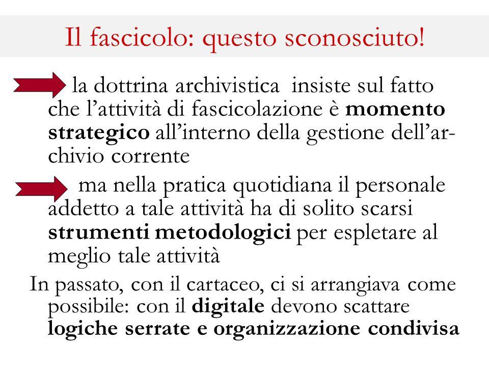 Il fascicolo: questo sconosciuto! la dottrina archivistica insiste sul fatto che l'attività di fascicolazione è momento strategico all'interno della g