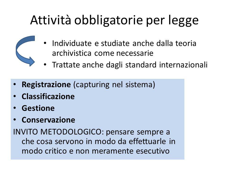 Attività obbligatorie per legge Registrazione (capturing nel sistema) Classificazione Gestione Conservazione INVITO METODOLOGICO: pensare sempre a che
