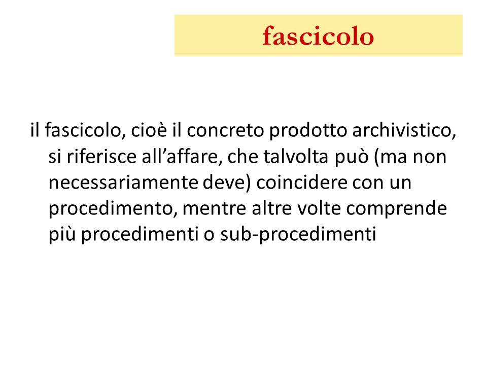 fascicolo il fascicolo, cioè il concreto prodotto archivistico, si riferisce all'affare, che talvolta può (ma non necessariamente deve) coincidere con