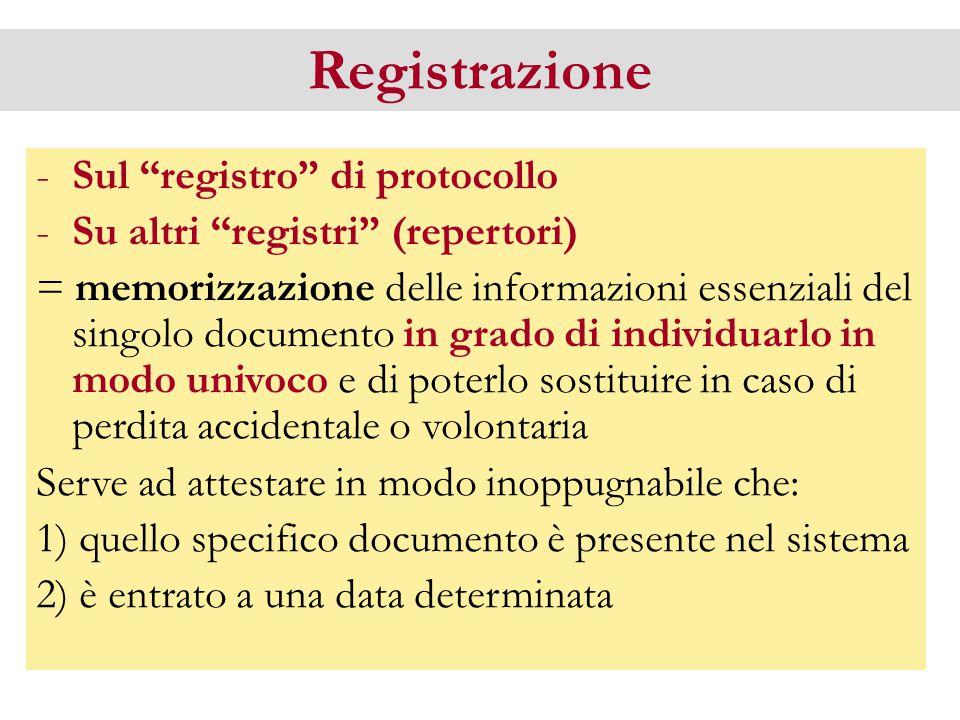 """Registrazione -Sul """"registro"""" di protocollo -Su altri """"registri"""" (repertori) = memorizzazione delle informazioni essenziali del singolo documento in g"""