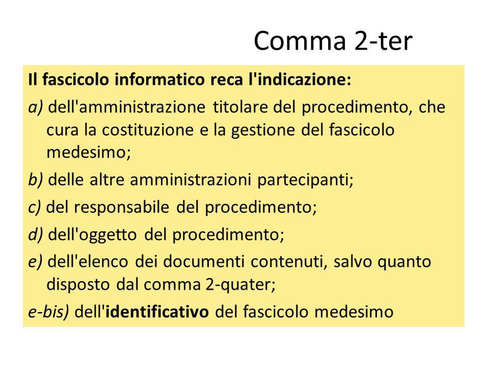 Comma 2-ter Il fascicolo informatico reca l'indicazione: a) dell'amministrazione titolare del procedimento, che cura la costituzione e la gestione del