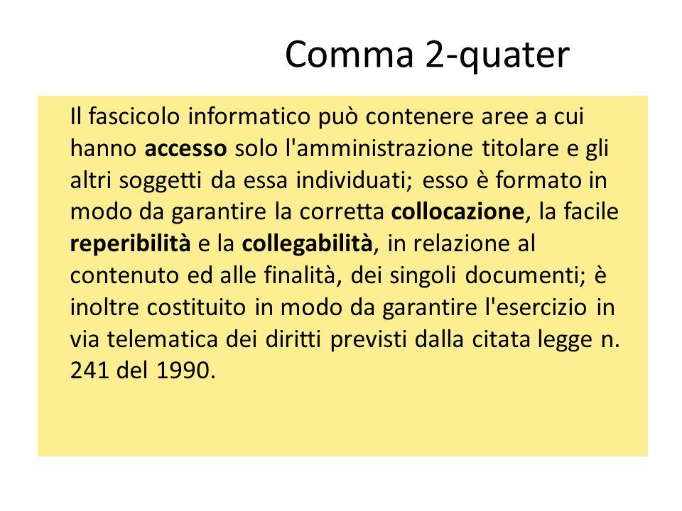 Comma 2-quater Il fascicolo informatico può contenere aree a cui hanno accesso solo l'amministrazione titolare e gli altri soggetti da essa individuat