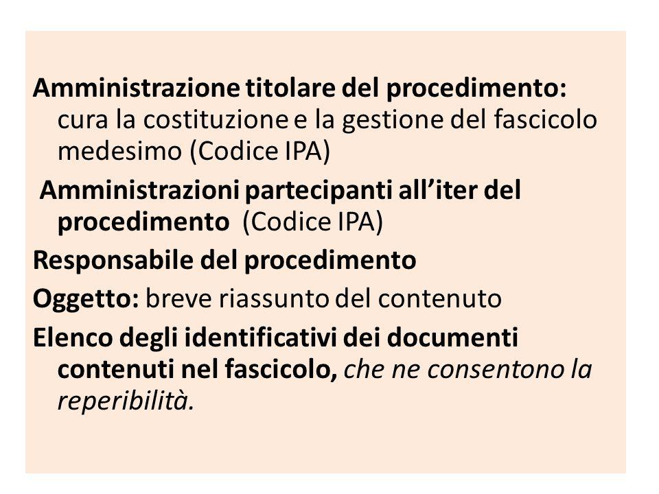 Amministrazione titolare del procedimento: cura la costituzione e la gestione del fascicolo medesimo (Codice IPA) Amministrazioni partecipanti all'ite