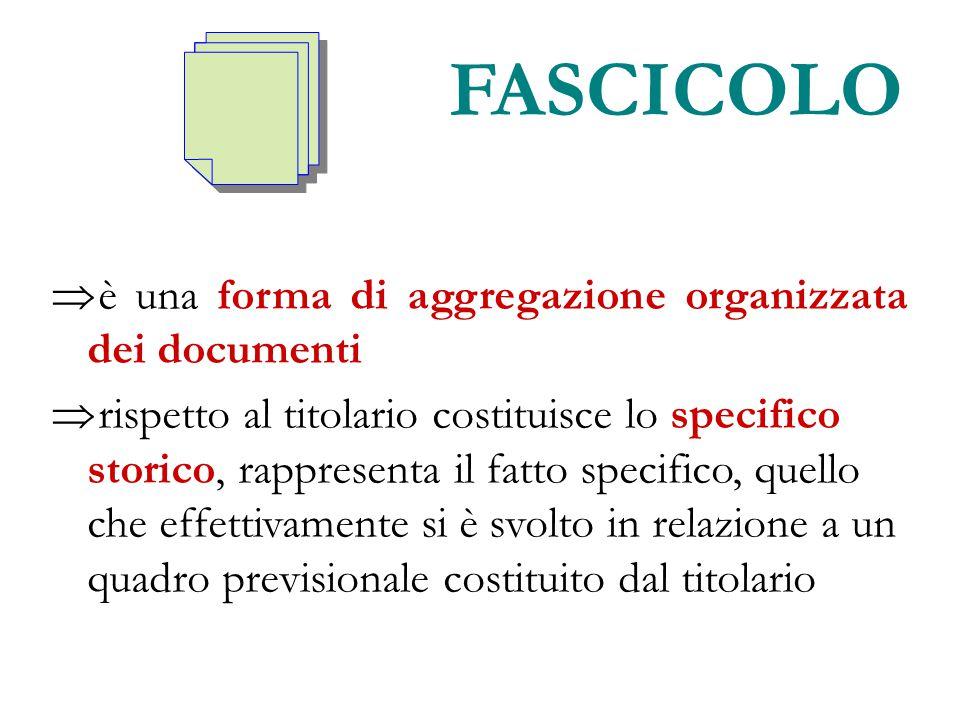 FASCICOLO  è una forma di aggregazione organizzata dei documenti  rispetto al titolario costituisce lo specifico storico, rappresenta il fatto speci