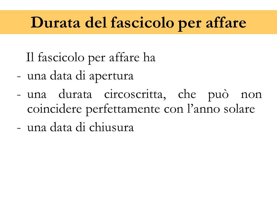 Durata del fascicolo per affare Il fascicolo per affare ha -una data di apertura -una durata circoscritta, che può non coincidere perfettamente con l'
