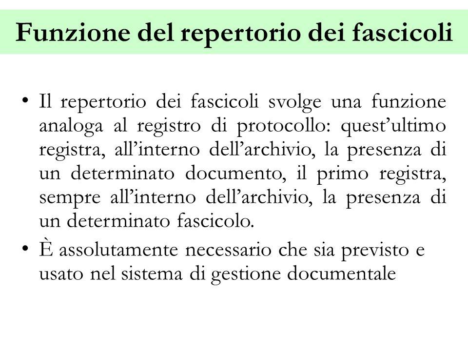 Funzione del repertorio dei fascicoli Il repertorio dei fascicoli svolge una funzione analoga al registro di protocollo: quest'ultimo registra, all'in