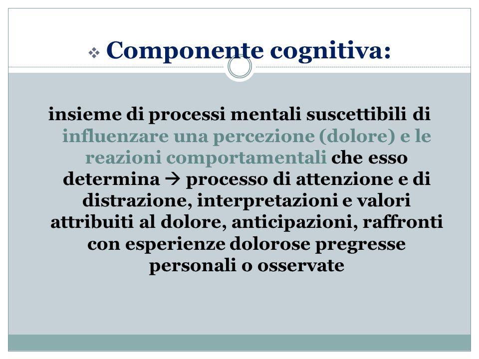  Componente cognitiva: insieme di processi mentali suscettibili di influenzare una percezione (dolore) e le reazioni comportamentali che esso determina  processo di attenzione e di distrazione, interpretazioni e valori attribuiti al dolore, anticipazioni, raffronti con esperienze dolorose pregresse personali o osservate