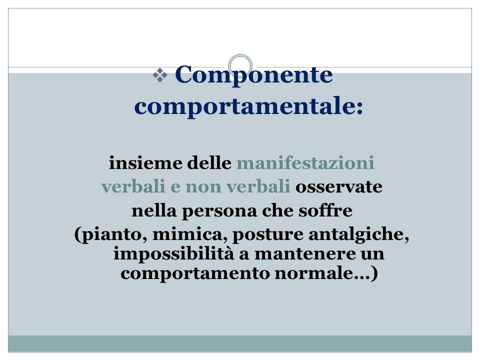  Componente comportamentale: insieme delle manifestazioni verbali e non verbali osservate nella persona che soffre (pianto, mimica, posture antalgiche, impossibilità a mantenere un comportamento normale…)