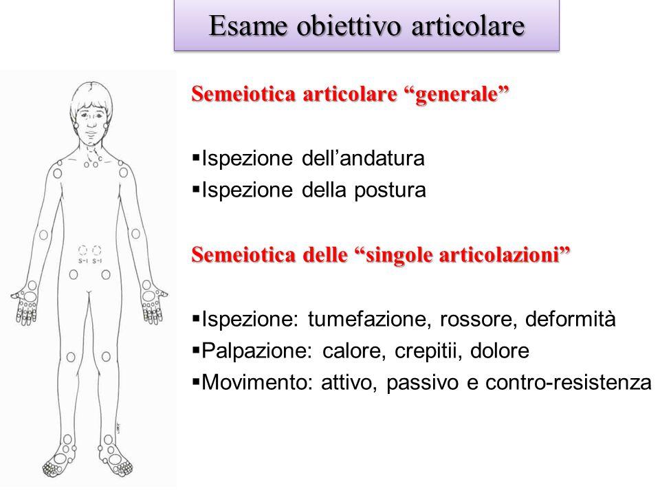 """Esame obiettivo articolare Semeiotica articolare """"generale""""  Ispezione dell'andatura  Ispezione della postura Semeiotica delle """"singole articolazion"""