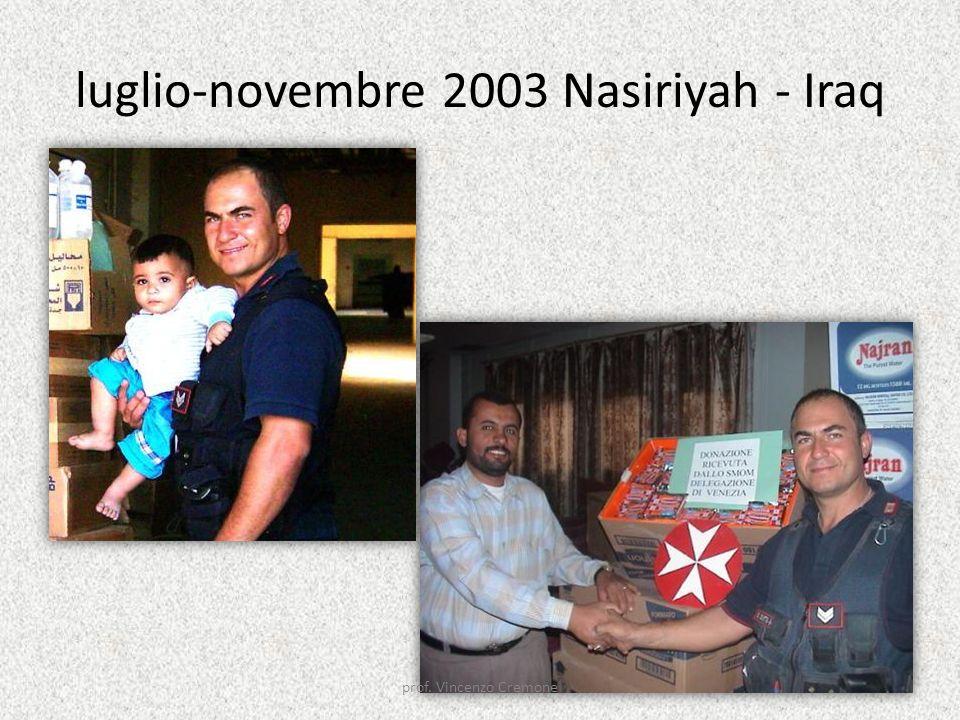 luglio-novembre 2003 Nasiriyah - Iraq prof. Vincenzo Cremone