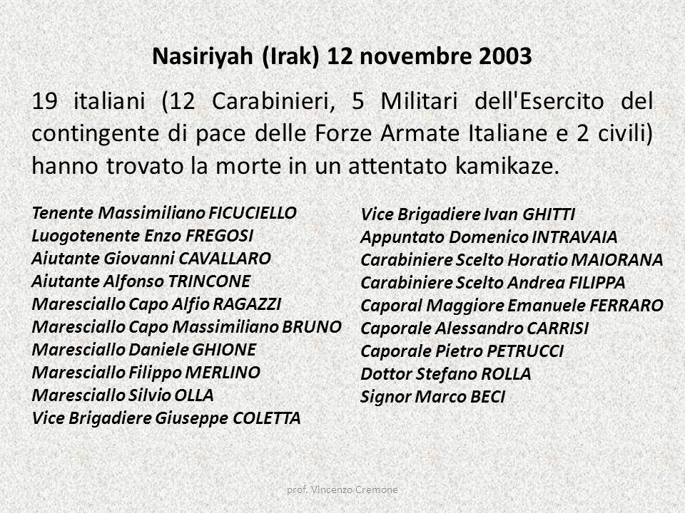 Nasiriyah (Irak) 12 novembre 2003 19 italiani (12 Carabinieri, 5 Militari dell'Esercito del contingente di pace delle Forze Armate Italiane e 2 civili